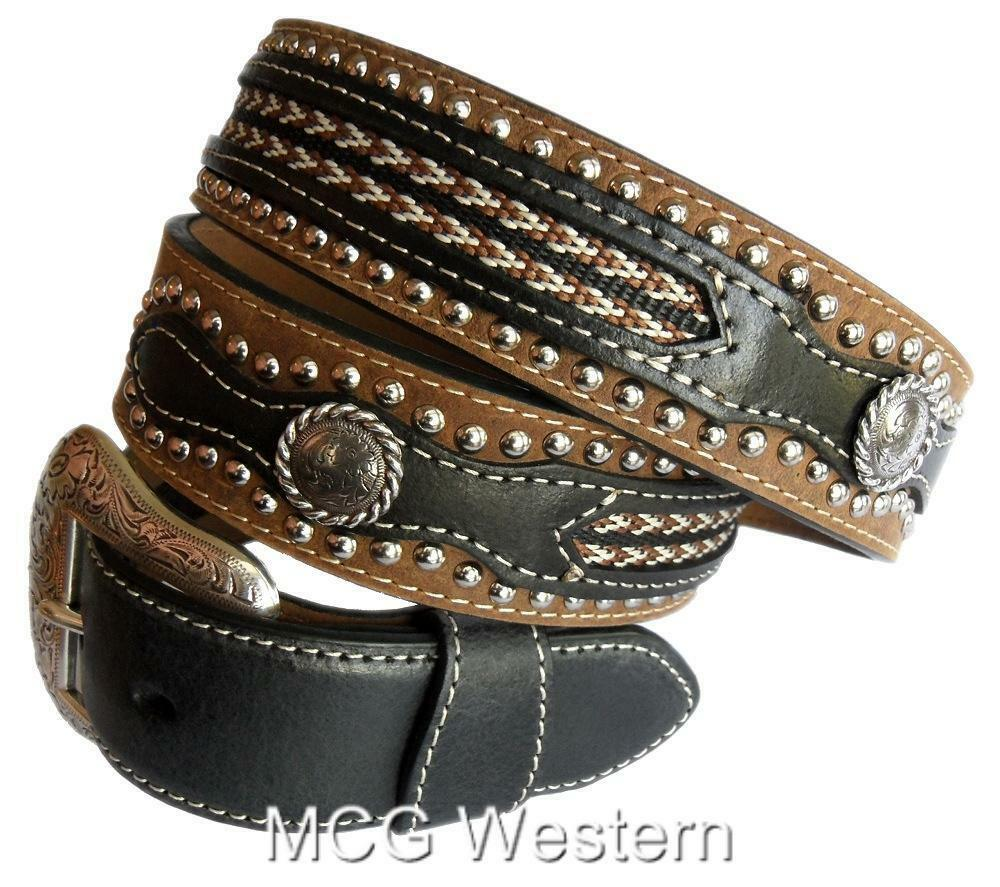 nocon western mens belt leather laced overlay studs
