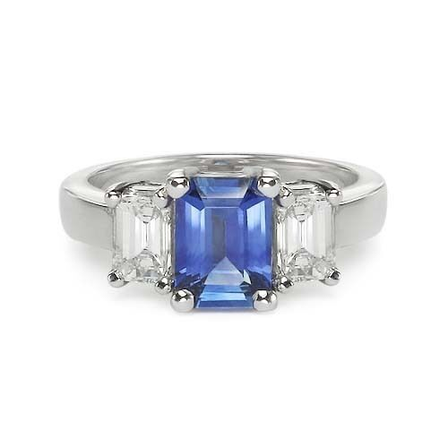 2 54 Ct Emerald Cut Sapphire Amp Diamond Engagement Ring Ebay