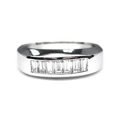 100 ct mens baguette cut diamond wedding band platinum ebay for Mens wedding rings baguette diamonds
