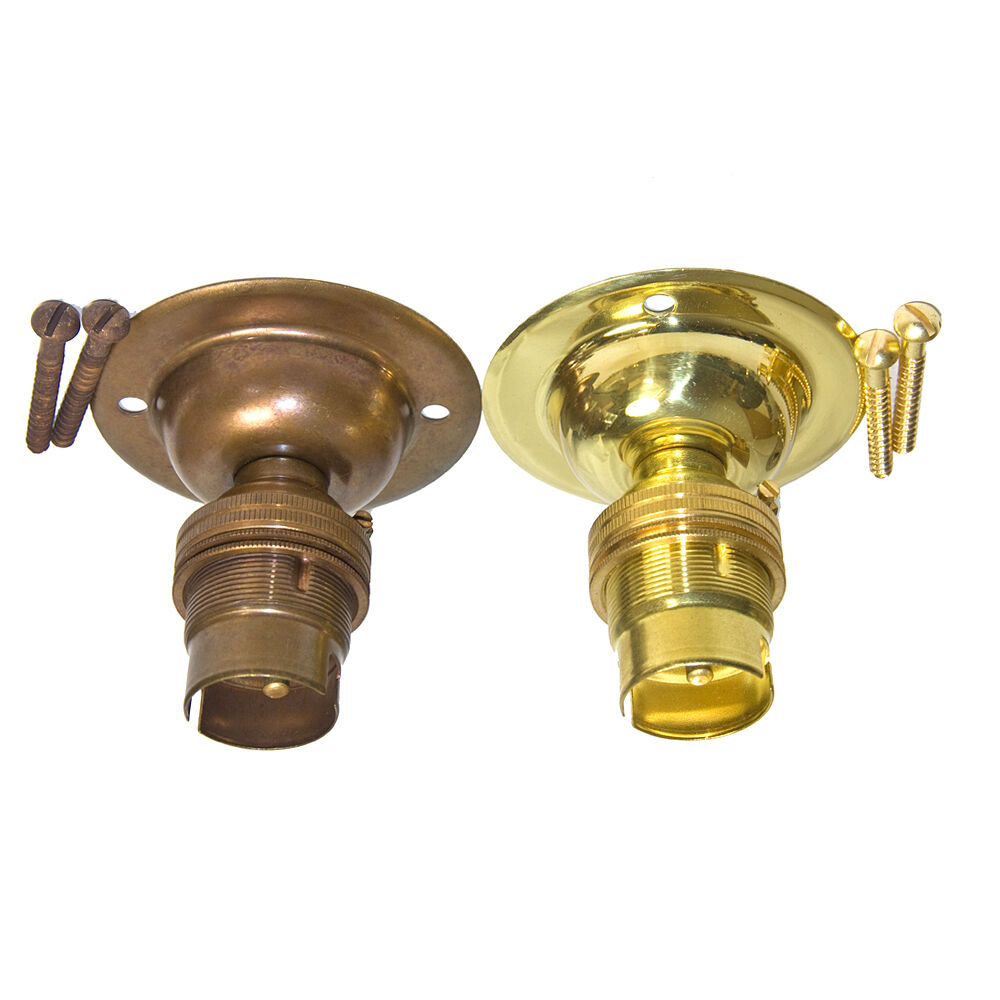 Solid Brass Ceiling Rose and BC Lamp Holder Polished Brass or Antique Finish eBay