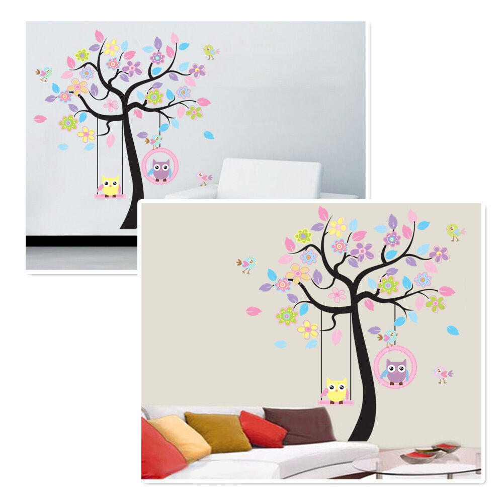 wandsticker wanddeko f r kinderzimmer diy wandtattoo eule wandaufkleber wandbild ebay. Black Bedroom Furniture Sets. Home Design Ideas
