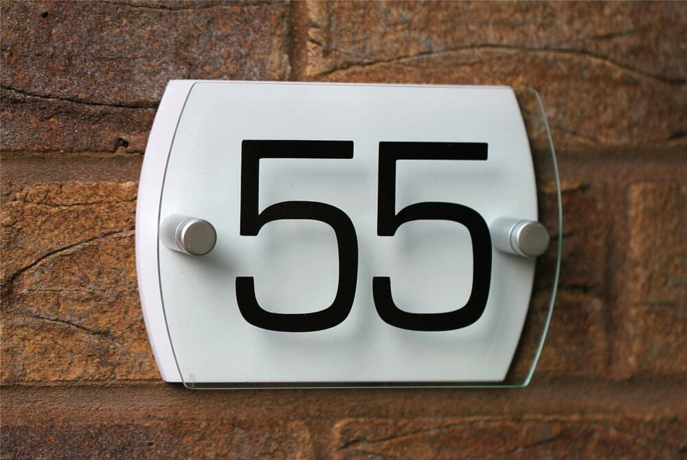 Modern house sign plaque door number small glass effect for Modern house number plaques