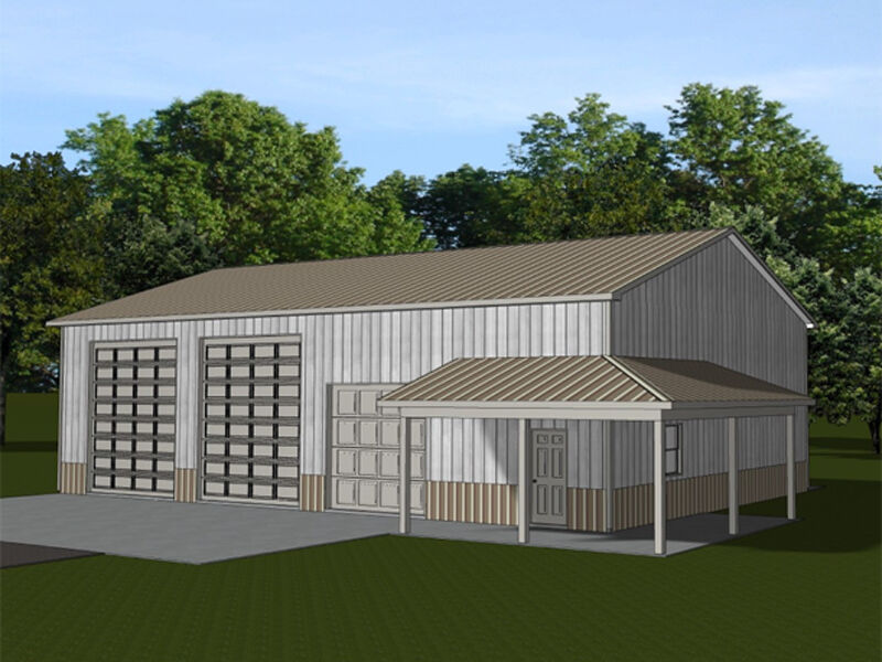 Large barn plans blueprints with loft storage and covered for Shed with porch and loft