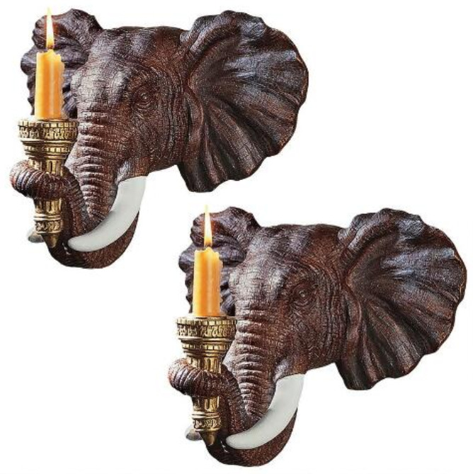 Wall Light Sculpture: 2 EXOTIC AFRICAN ELEPHANT CANDLE HOLDERS WALL SCONCE