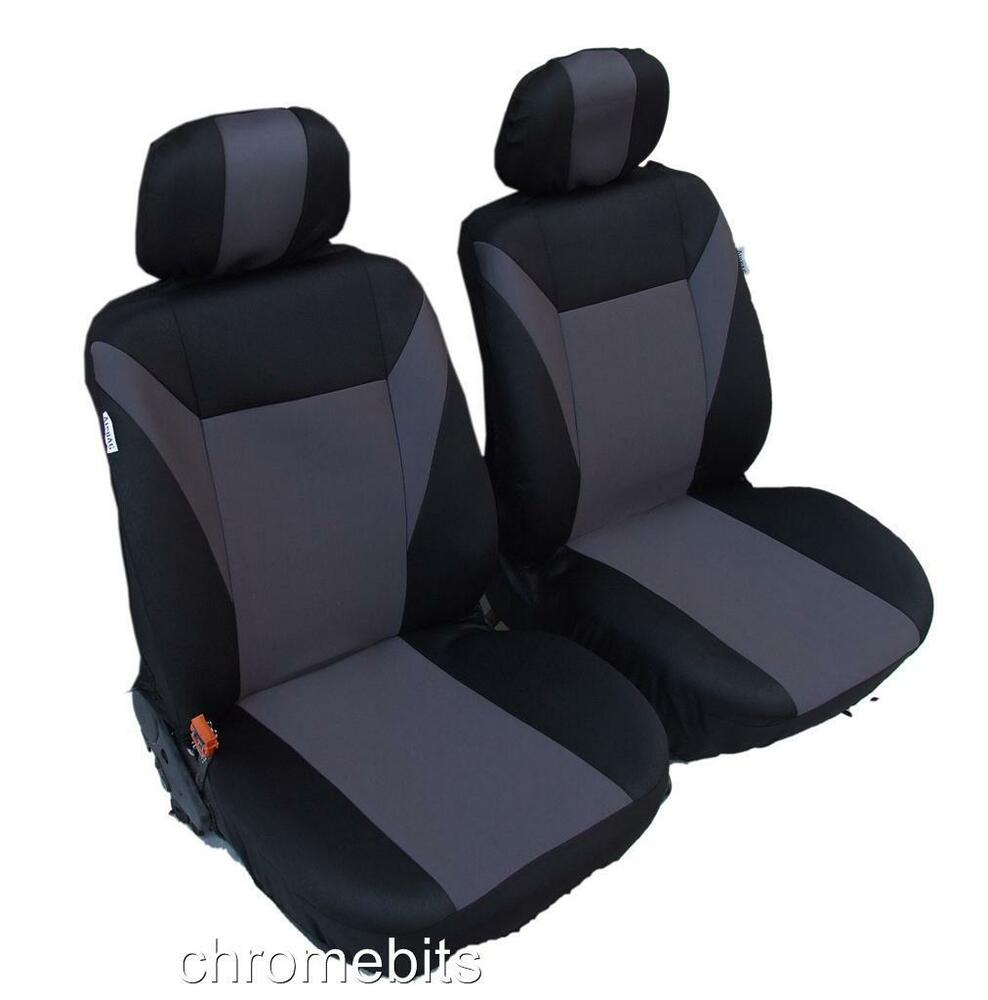 front grey black fabric seat covers for nissan pathfinder x trail navara pickup ebay. Black Bedroom Furniture Sets. Home Design Ideas