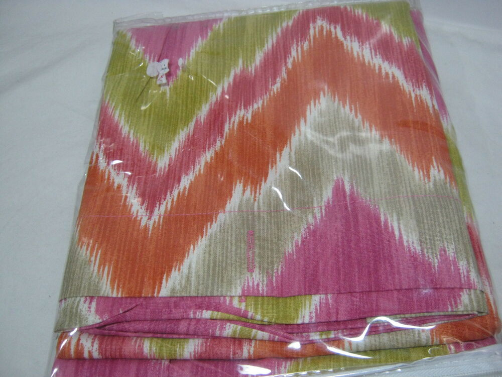 ... TRIBAL Fabric Shower Curtain - Pink Orange Taupe Ivory Zig Zag | eBay