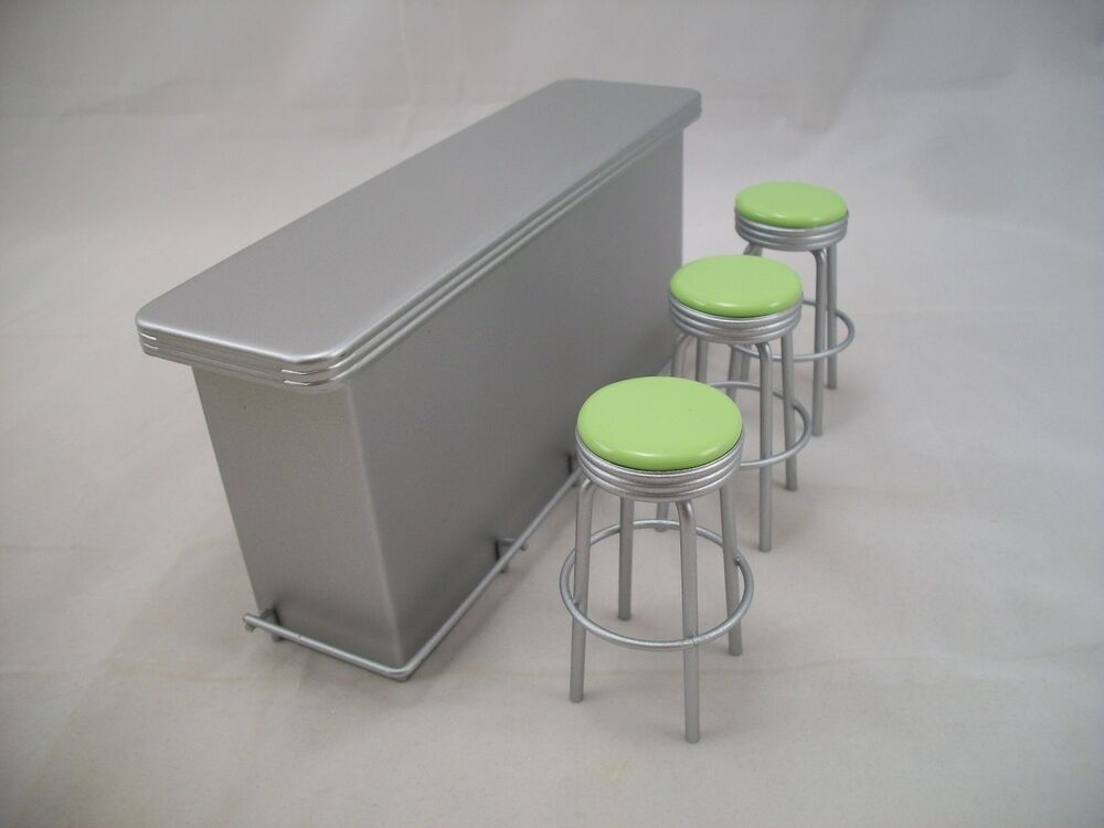 1950s Counter W 3 Stools Lime T5937 Dollhouse Miniature