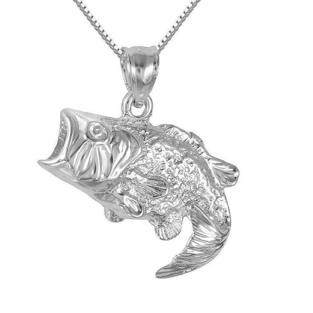 Sterling silver bass fish pendant charm made in usa 18 for Silver bass fish