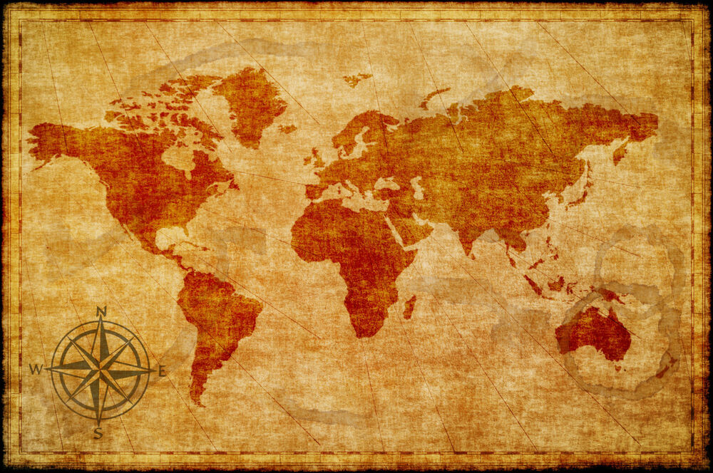 World Map Atlas Globe Earth Compass Art Print Photo Rustic
