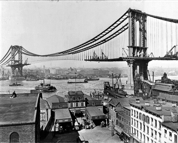 new 8x10 photo manhattan suspension bridge under construction new york city ebay. Black Bedroom Furniture Sets. Home Design Ideas