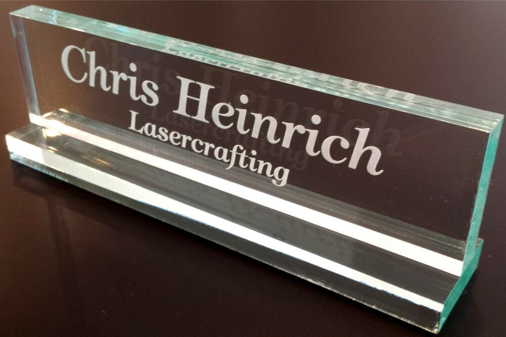 DESK NAME PLATE Personalized - Glass Colored Acrylic