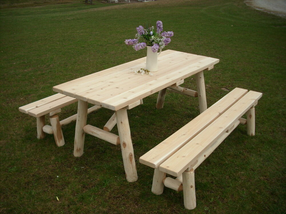 Rustic White Cedar Log 6 Foot Picnic Table With Detached