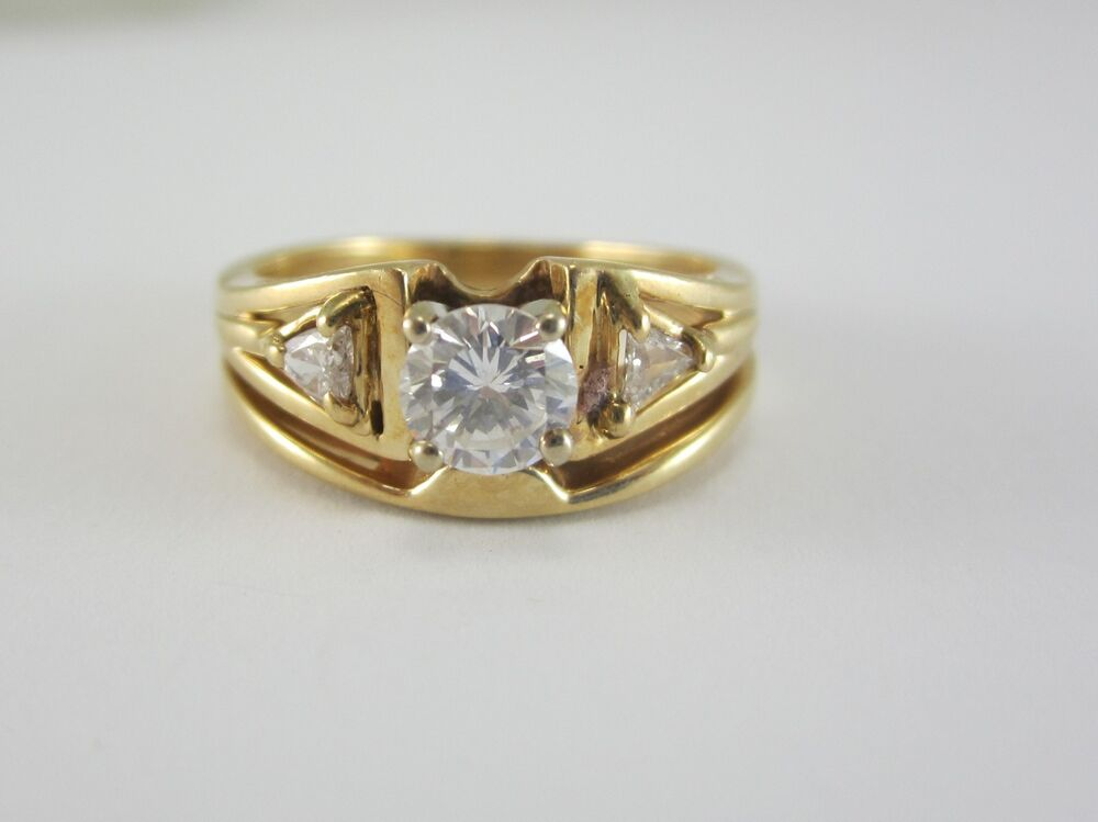 Beautiful ladies 14k two tone gold diamond wedding ring for Ebay diamond wedding ring sets