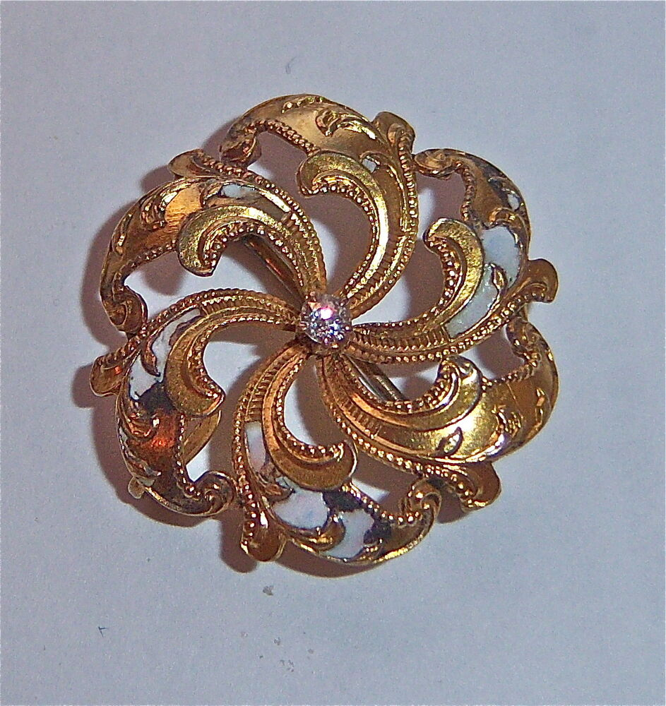 VINTAGE VICTORIAN DIAMOND PIN BROOCH GOLD FILLED