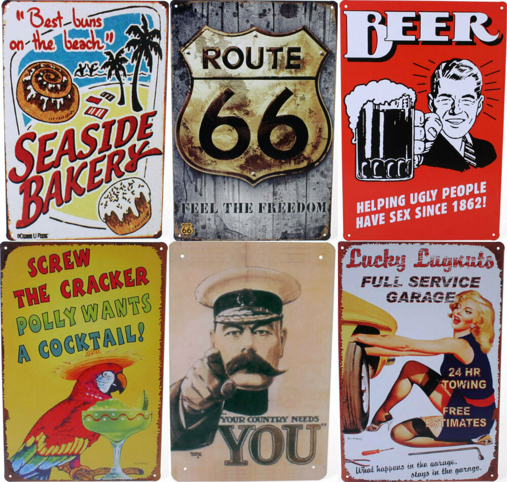 Retro advertising metal sign retro style wall plaque for Plaque deco cuisine retro