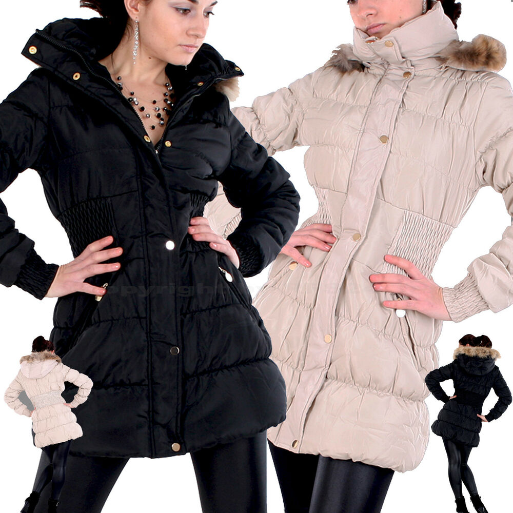 damen winter outdoor mantel fell kapuze stepp jacke sexy daunen look parka f 2 ebay. Black Bedroom Furniture Sets. Home Design Ideas