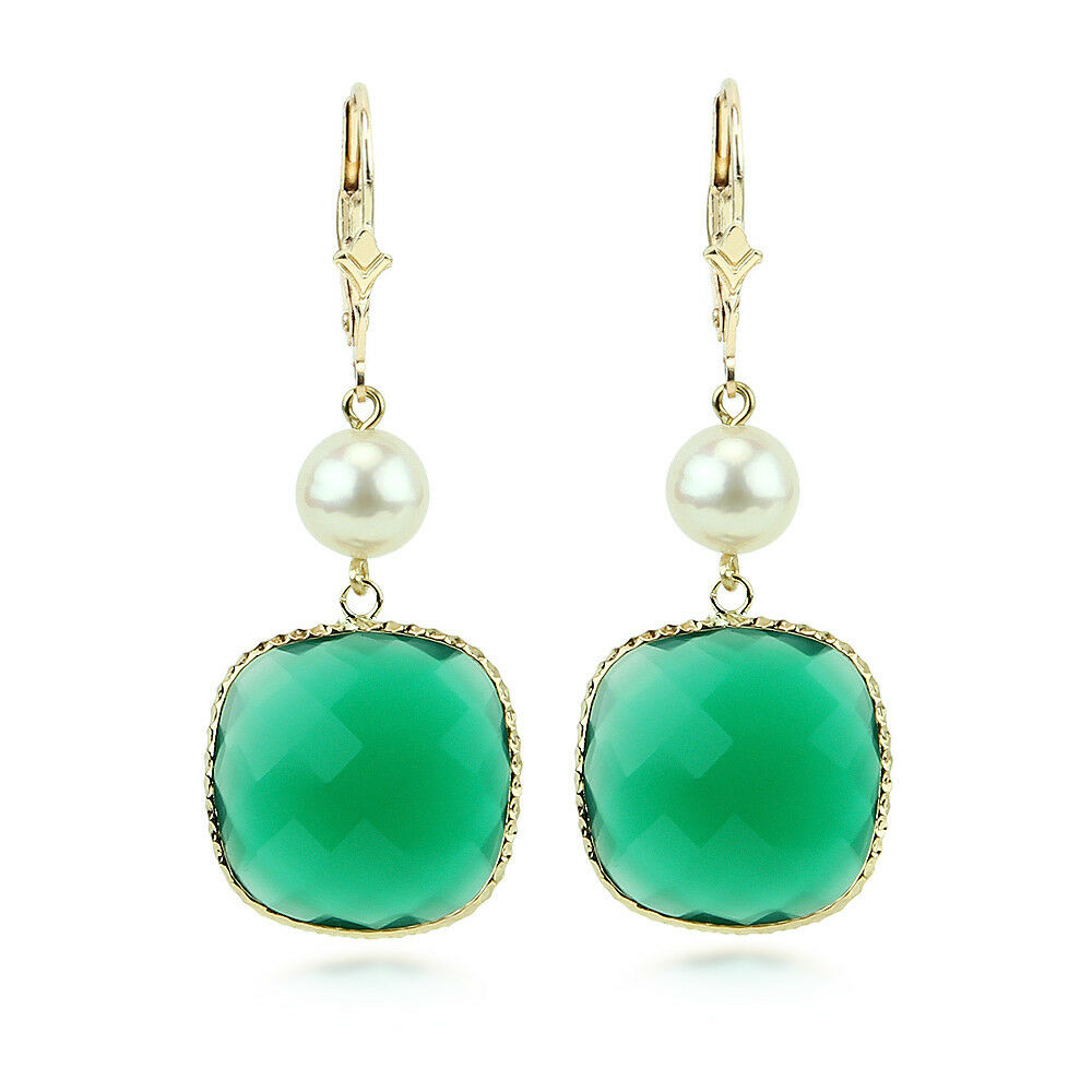 14k yellow gold gemstone earrings with pearls and cushion