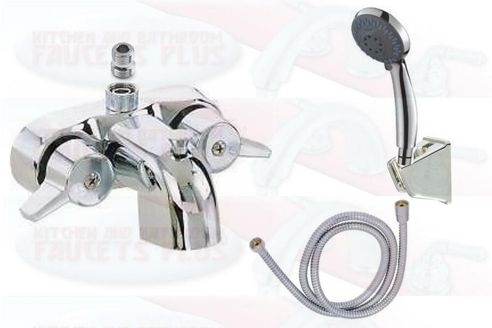 Chrome Bathroom AddAShower Clawfoot Tub Diverter Faucet  Hand - Clawfoot tub shower fixtures