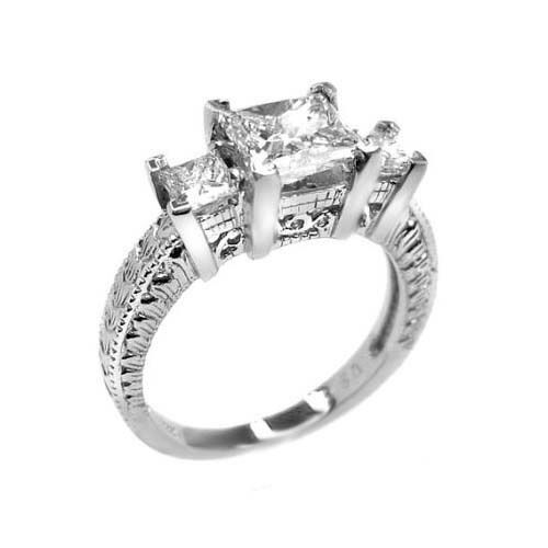 1.80 G VS PRINCESS CUT 3 STONE DIAMOND ENGAGEMENT RING