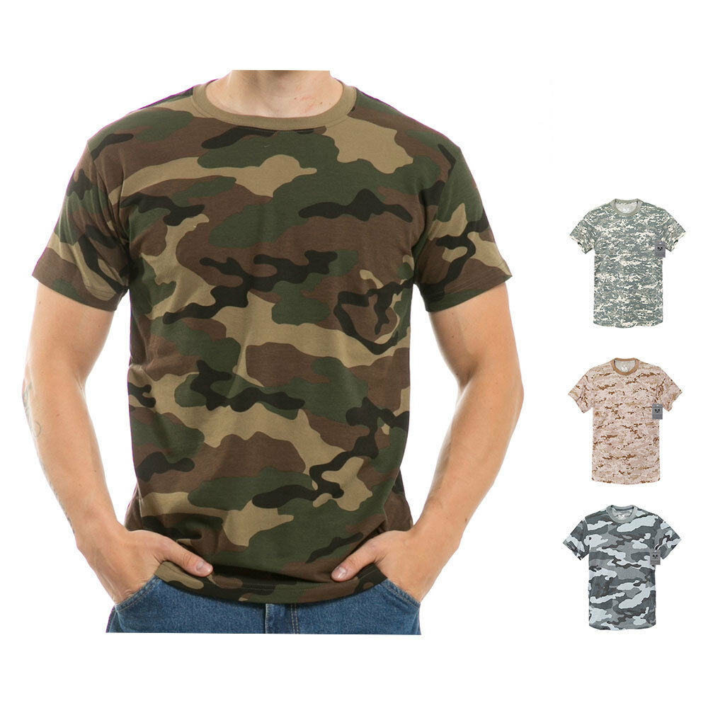 military woodland camouflage camo army hunting t shirt t shirts tees s. Black Bedroom Furniture Sets. Home Design Ideas