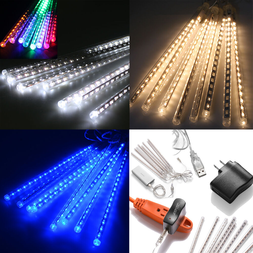 Led Icicle String Lights With Ice Drop : Meteor Shower Falling Star/Rain Drop/Icicle Snow LED Xmas Tree String Light eBay