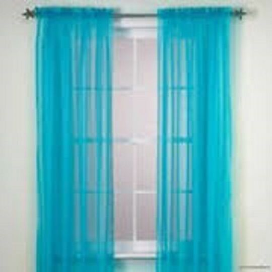 1 Panels Sheer Solid Turquoise Window Treatments Curtains Drapes 55 X 63 Ebay