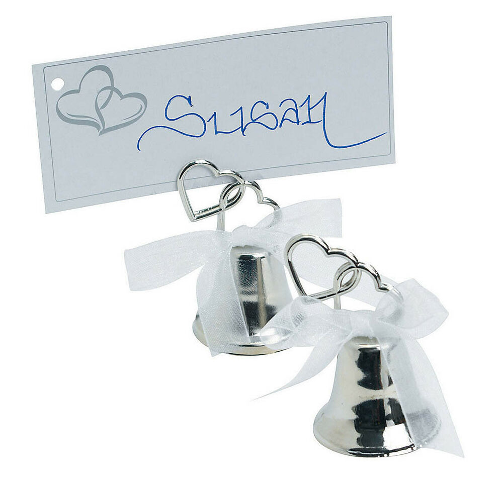 24 Silver Metal Place Card Holder Kissing Bell Wedding Two