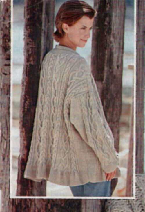Lovely ladies oversized Aran cable Jacket- Knitting pattern- chest 34-44