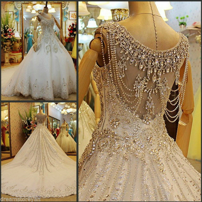 YZ Luxury Crystal Bright Diamond Sexy Fancy Wedding Dress ...