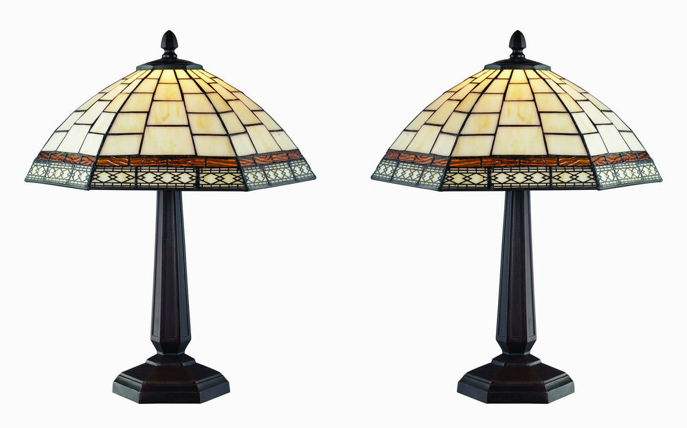 Tiffany Style White Antique Table Lamp Set DYL 1435TL/SET