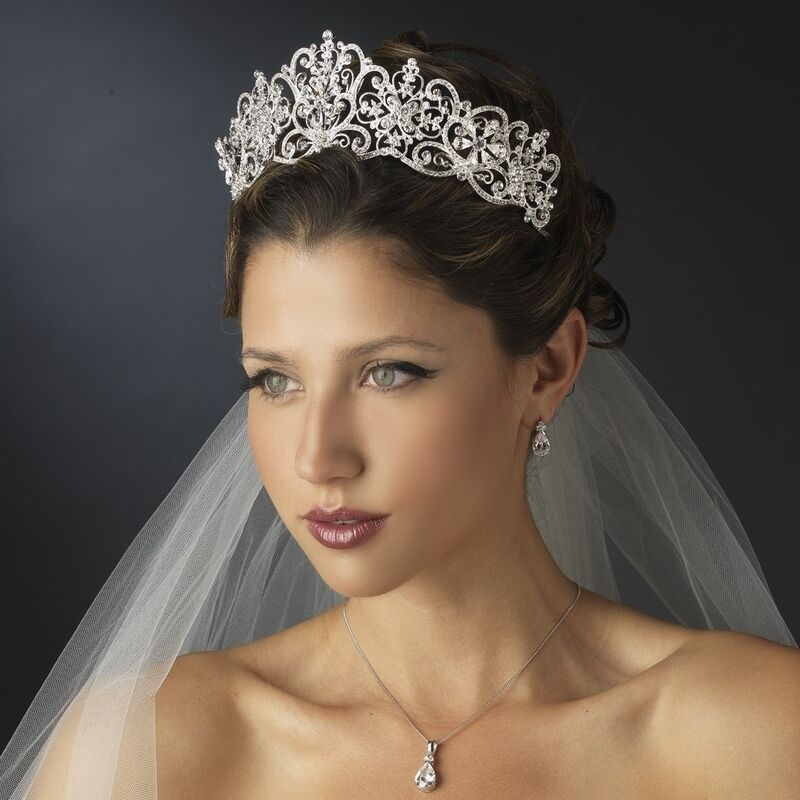 Silver Crystal Rhinestone Royal Princess Wedding Bridal