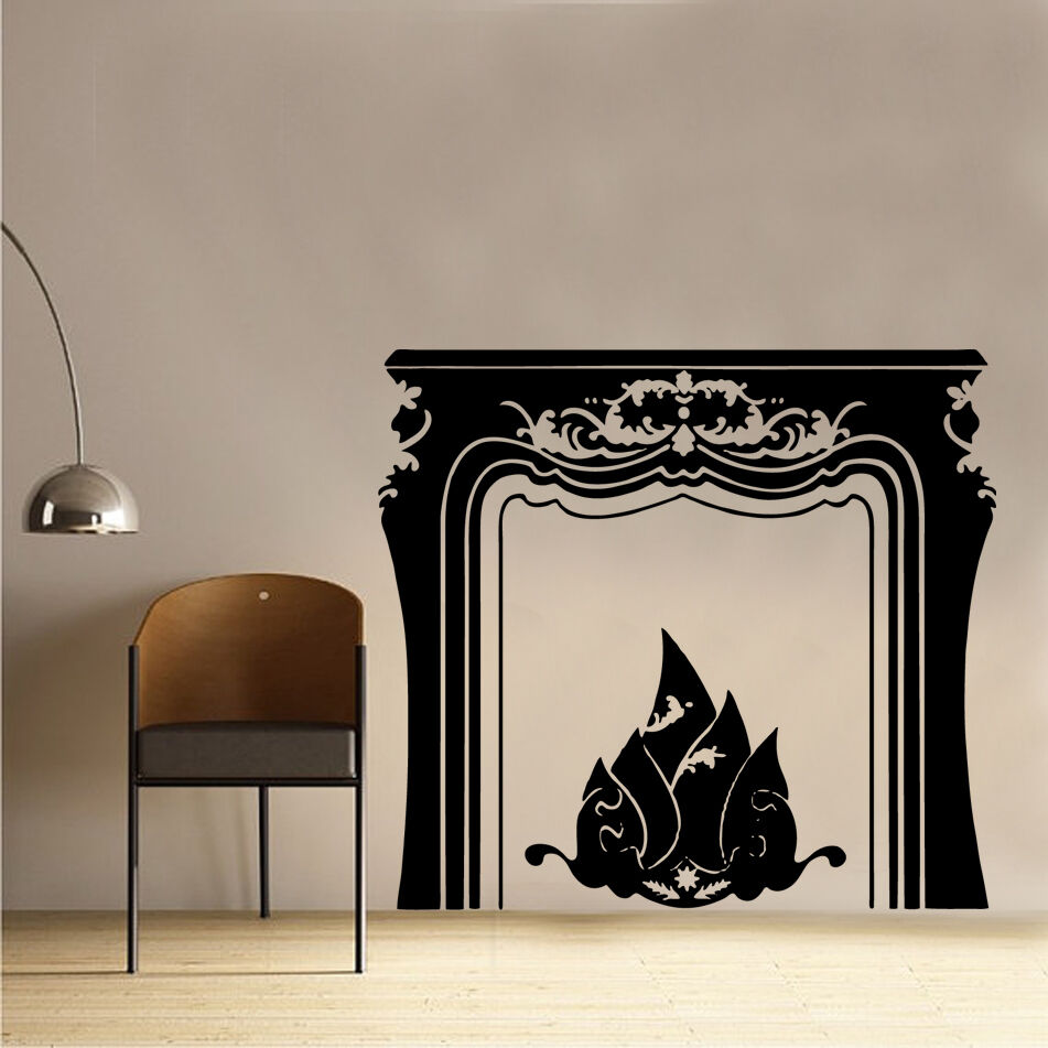 Open fire place vinyl wall sticker art living dining room for Dining room decals