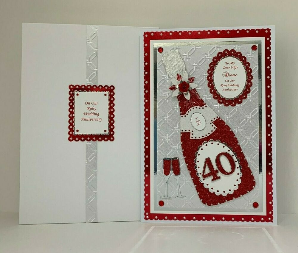 Ruby Wedding Gift Box : Ruby 40th Wedding Anniversary Card+ Box Wife/Friends/Special Couple ...