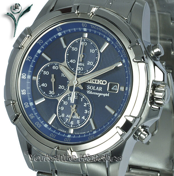 seiko solar chrono alarm blue dial stainless steel case. Black Bedroom Furniture Sets. Home Design Ideas