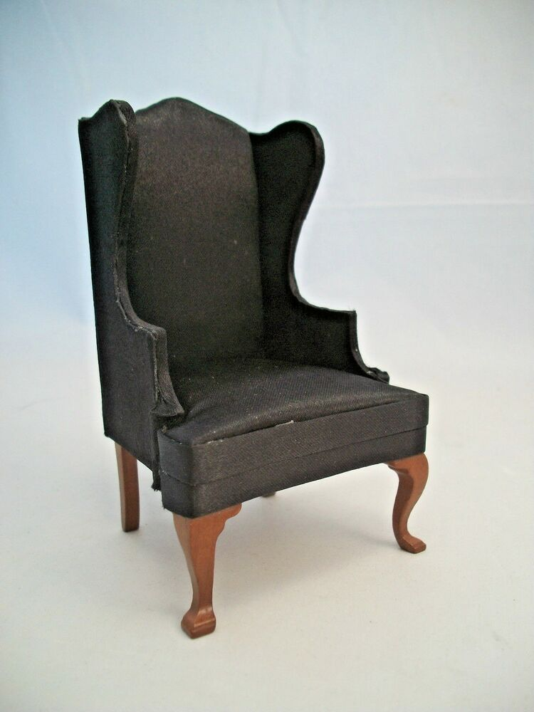 wing chair black faux leather walnut dollhouse furniture t6827 1 12