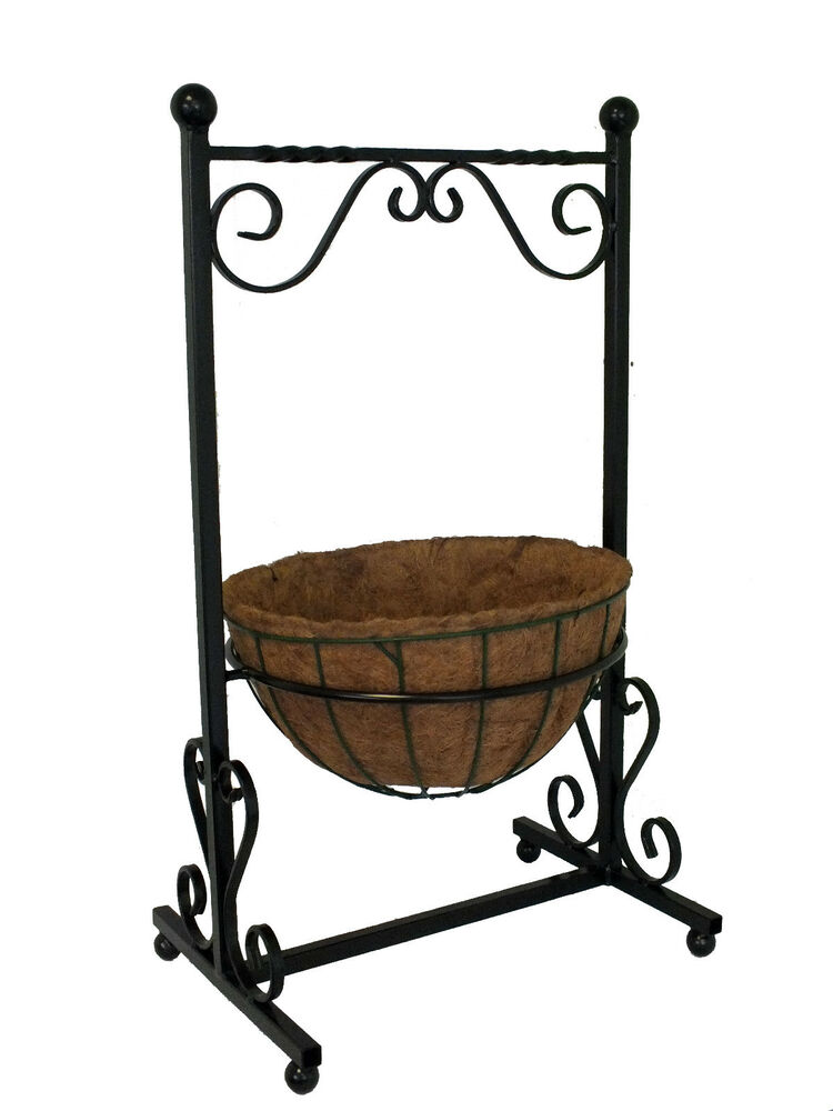 Wrought Iron Planter Metal Free Standing Trough Patio