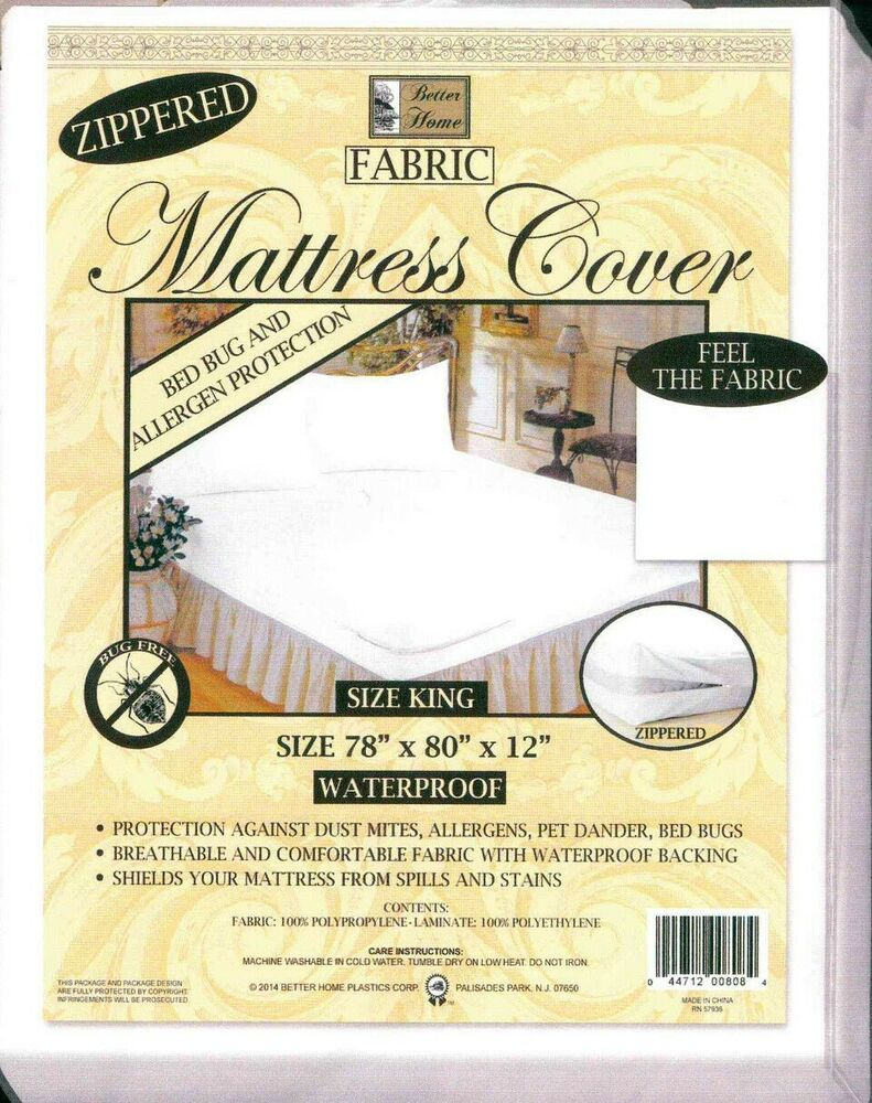 Zippered Fabric Mattress Cover Protects Against Bed Bugs
