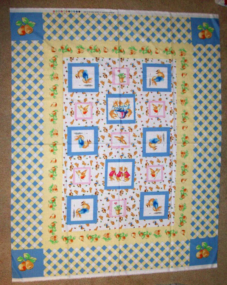 Peter rabbit beatrix potter baby quilt fabric novelty for Baby fabric uk