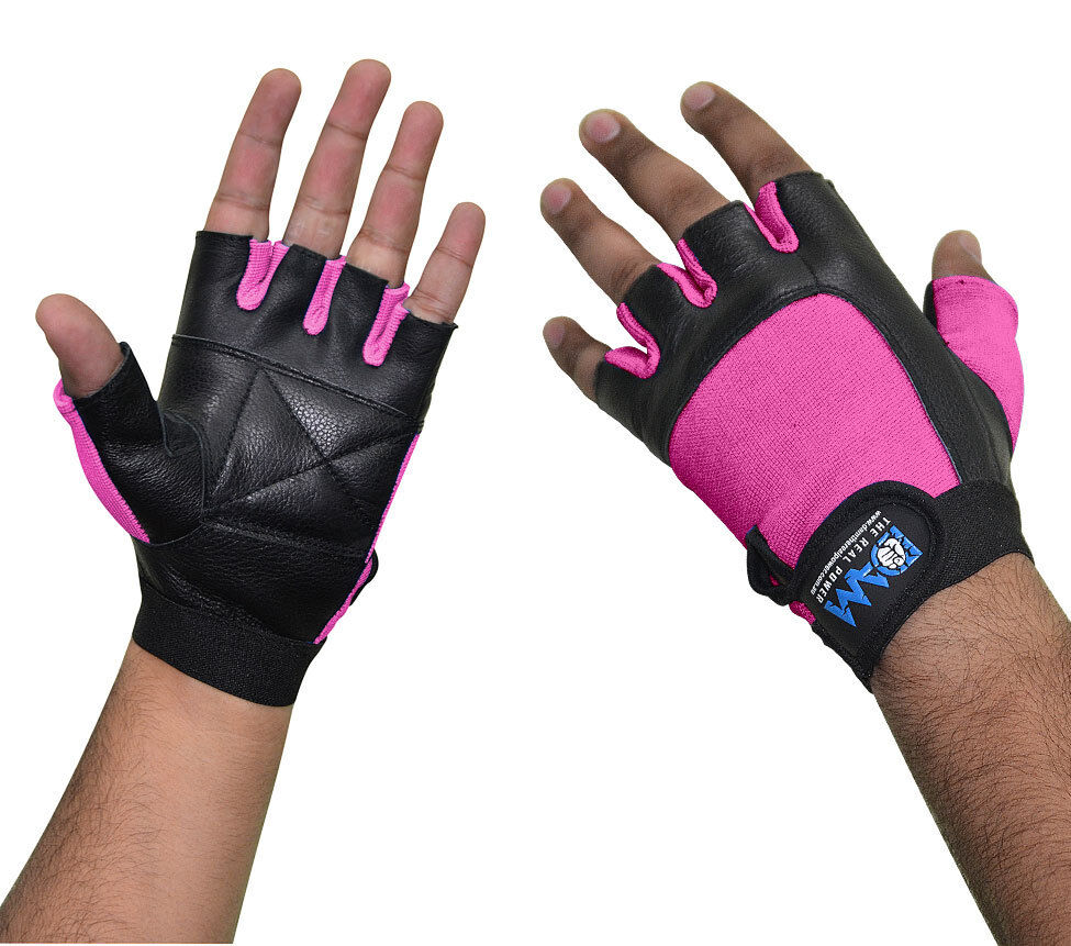 Fitness Weight Lifting Gloves: DAM Leather Weight Lifting Gym Gloves Real Leather Women's