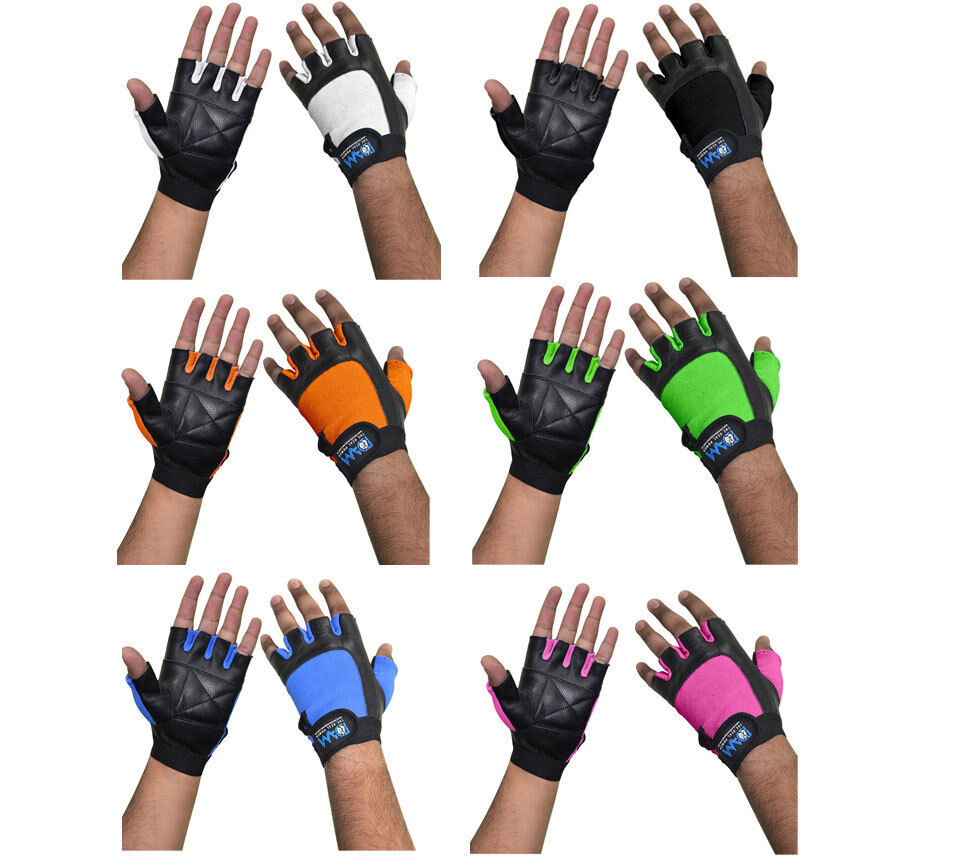 Dam Weight Lifting Gym Gloves Body Building Workout White: DAM Leather Weight Lifting Gym Gloves Pink, Black,Blue