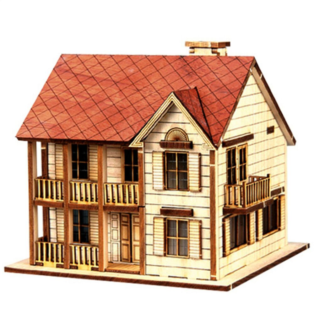 Wood house model kit western style ho scales wooden for Houses models