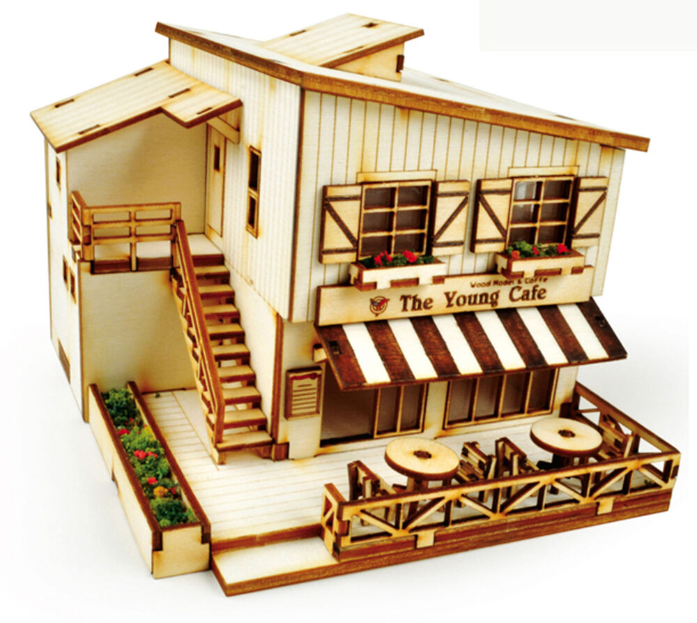 Cafe house wooden model kit ho scales 3d wood miniature for Mini wooden house