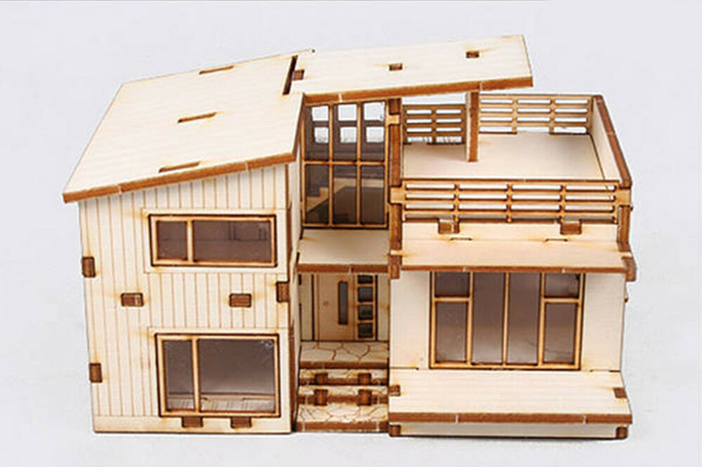 Modern style house wooden model kit ho 3d wood miniature Model plans for house