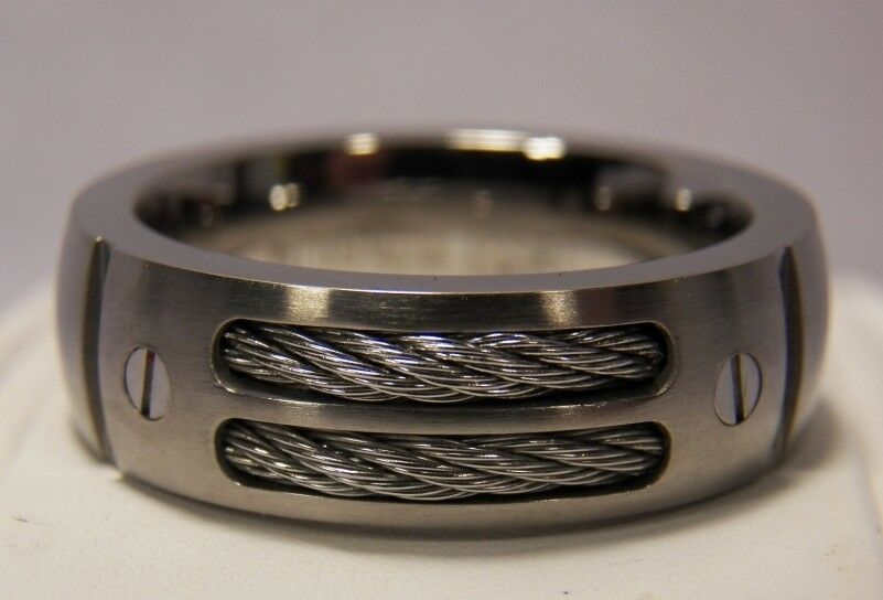 new silver titanium dual cable mens 8mm ring wedding band