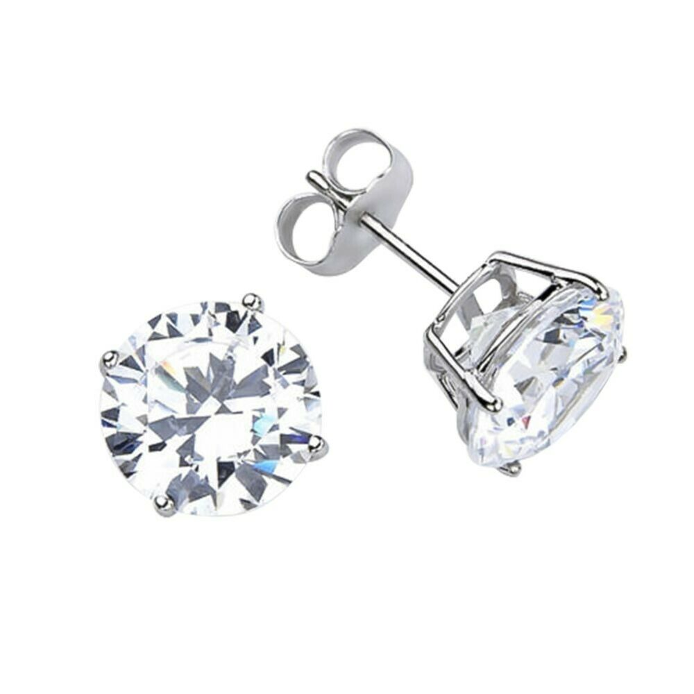 14kt Solid White Gold SuperBright Clear CZ Stud Earrings ...