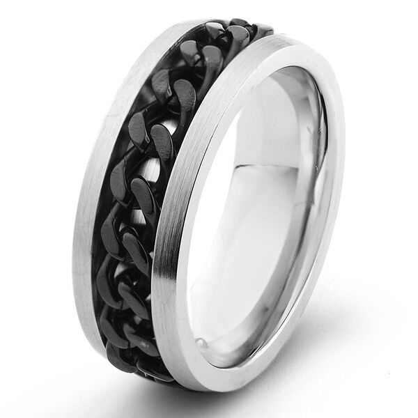 Stainless Steel Mens Wedding Band Ring 8mm: Men's 8mm Flat Stainless Steel 316L Wedding Band With