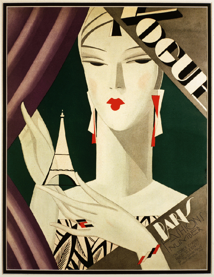 Art deco fashion paris eiffel 1920 39 s magazine cover art for Deco in paris