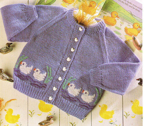Childs Duck Motif, Cardigan Knitting pattern in DK- chest 22-26