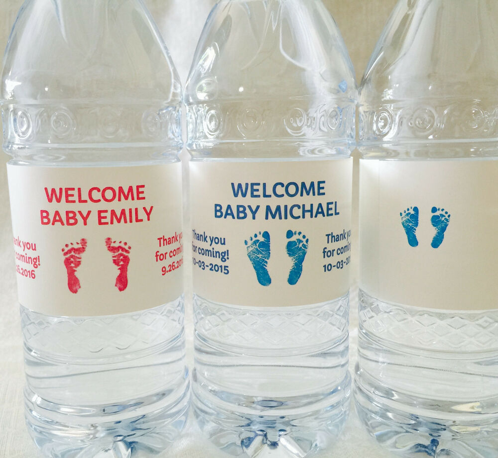 20 Personalized Baby Shower Pink/Blue Footprints