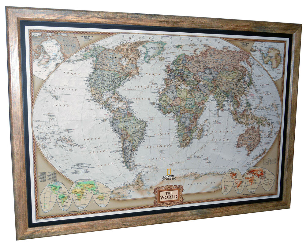 Framed World Map National Geographic Executive 40 x 28 Brown Ba
